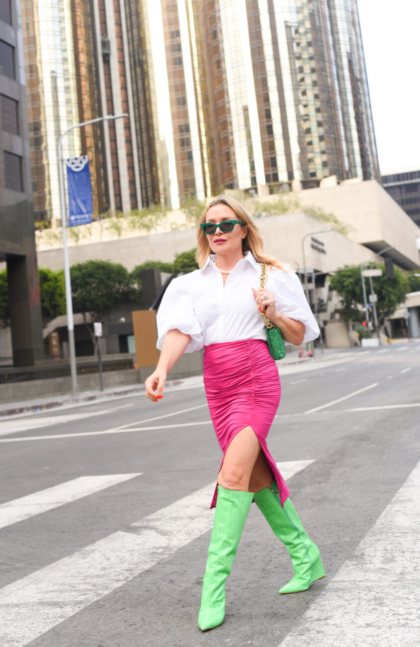 Acid Green Boots, Ruched Fuchsia Skirt.