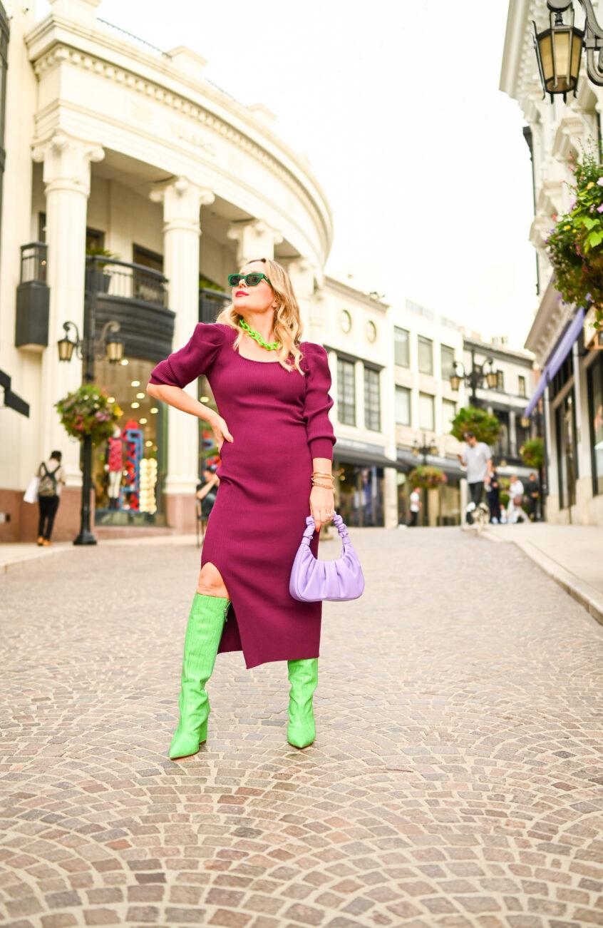 Burgundy Knit Dress, Statement Boots.